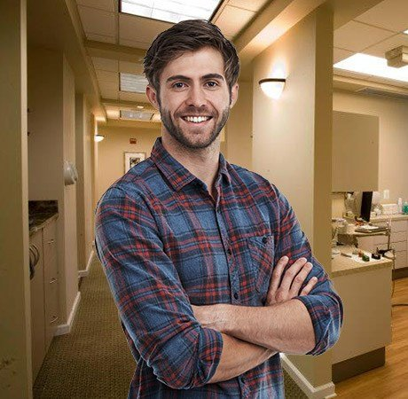 Young man smiling in dental practice
