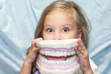 girl holding dental model